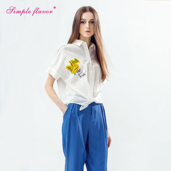 017 Women Casual White Tied Button Blouses Letter Printed Shirts Short Sleeve Turn down Collar Loose Blusas Top SF2270