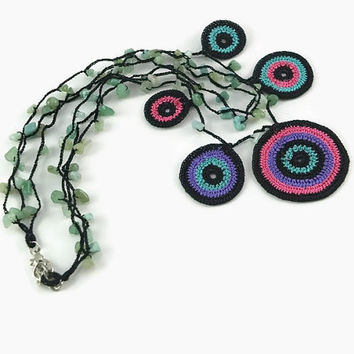 Bold Colorful Statement Motif Crochet Circle Necklace – Stone Bead Crochet – Stacked – Layered – Christmas – Holiday – Gift - Fashion