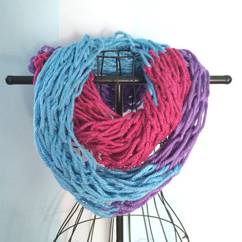 Colorful Infinity Scarf - Knitted Scarves - Winter Scarf - Women's Infinity Scarfs - Chunky Knit Cowl - Color Block Scarf - Loop Scarf