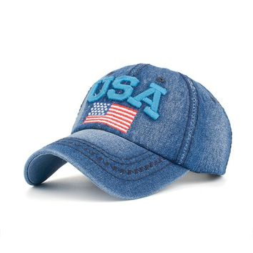 New USA 100% Cotton Ball Cap with Embroidery Flag