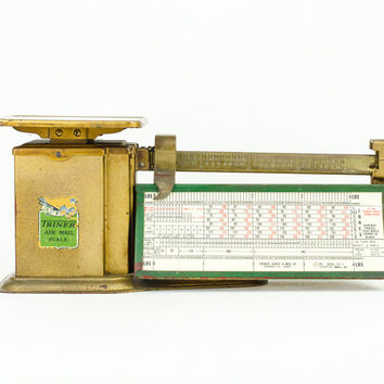 Vintage Triner Air Mail Scale Gold and Green /  Industrial Decor