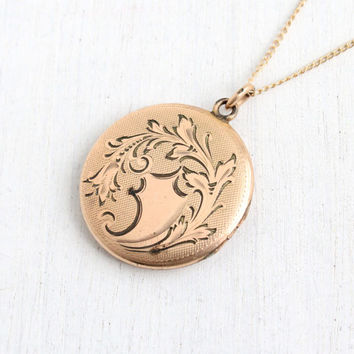 Antique Floral Etched Monogrammed Locket Necklace- Gold Filled 1910s 1920s Edwardian Initailed Jewelry
