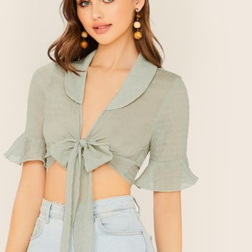 Peter Pan Collar Ruffle Sleeve Sheer Wrap Blouse