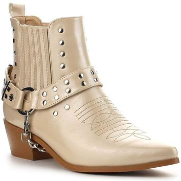 Nude Pointy Toe Ankle High Block Heel Western Cowboy Cowgirl Boot Bootie