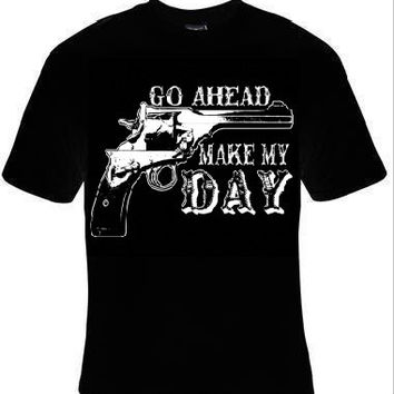 go ahead make my day t-shirt cool funny t-shirts gift present humor tee shirt comedy fun jokes tshirt
