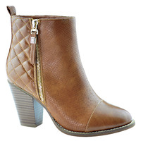 Tan Quilted Gina Bootie