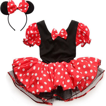 Minnie Mouse Tutu Polka Dot Dress With Minnie's Headband