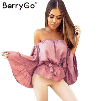 BerryGo Sexy off shoulder ruffle satin blouse shirt Soft flare sleeve bow summer tops Elegant glossy pink women blouses blusas
