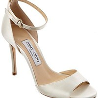 Jimmy Choo Tori 100 Satin Sandal, 37.5, White