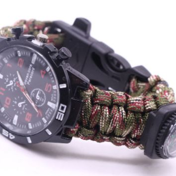 Outdoor umbrella rope braided Flint compass watch outdoor multi-purpose seven-core umbrella rope braided watch