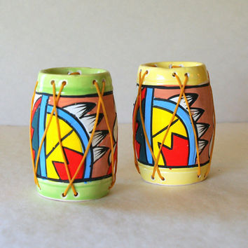 60s VINTAGE NEON SOUTHWEST Salt and Pepper Shakers Native American Tom Tom Drum Aztec Pattern Mid Century Shakers