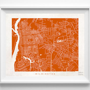 North Carolina, Wilmington, Print, Map, NC, Poster, State, City, Street Map, Art, Decor, Town, Illustration, Room, Wall Art, Customize