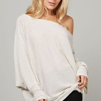 Make It Easy Waffle Knit Top - Oatmeal