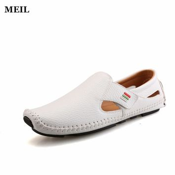 Summer Causal Shoes Men Loafers  Leather Moccasins Men Driving Shoes High Quality Flats For Man size 37-43