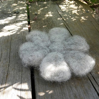 Wool Flower Coasters, set of 4, 100% Swedish wool, Grey Coasters, Rustic Dining