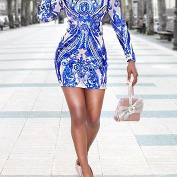 New Blue Patchwork Sequin Bodycon Long Sleeve Party Clubwear Mini Dress