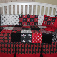 Custom 6 piece Harley Quinn Theme Crib Bedding Set