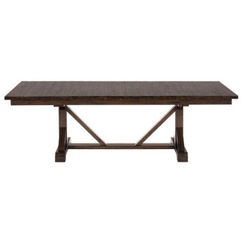 Jofran 733-96 Rustic Hewn Rectangle Fixed Top Dining Table w/ Trestle Base