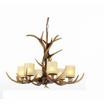 6 light deer horn pastoralism pendant lamp light chandelier for bar dinning room and kitchen