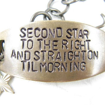 Second Star to the Right Hand Stamped quote Bracelet Peter Pan Quote