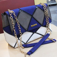 Unique Blue and white Geometry Colorful Shoulder Bag