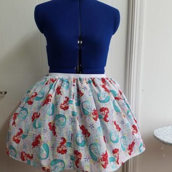 Plus - little - mermaid - ariel - disney - flirty - pinup - rockabilly - rockabella - full - circle - skirt - with - elastic - waist
