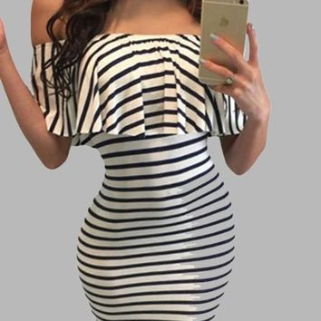 White-Black Striped Ruffle Off Shoulder Backless Bodycon Clubwear Party Midi Dress