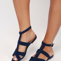 Marnee Navy Suede Leather Gladiator Sandals