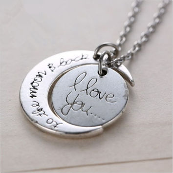 "Silver White Tone ""I Love You To The Moon and Back"" Pendant Necklace Jewelry Chain Choker  Hot Fashion = 1946566596"