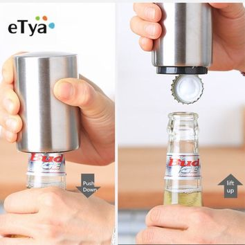 eTya 1PC Stainless Steel Bottle Opener Portable Magnetic Automatic Push Down Wine Beer Openers Practical Kitchen Accessories