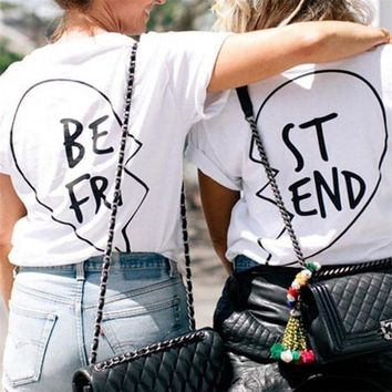 ESBOND Summer Best Friends T Shirt Print Letter BE FRI ST END Women T-shirt Fashion Short Sleeve Women Clothing White Black