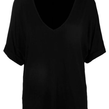 Aria Oversized V Neck T Shirt | Boohoo