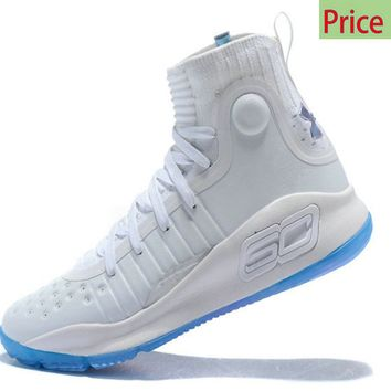 Where To Buy 2018 New Mens Under Armour Curry 4 Mid Basketball Shoes White Ice Blue sneaker