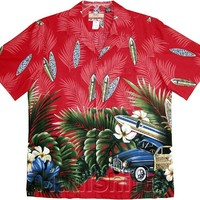 Tropical Surfboard Woodie Men's Hawaiian Aloha Cotton Shirt in Red - M