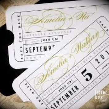 Vintage Ticket Save the Date by LetterBoxInk on Etsy