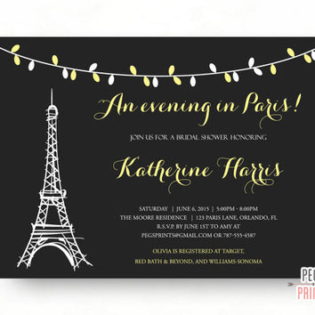 An Evening in Paris Bridal Shower Invitation - Parisian Bridal Shower Invitation Printable - Paris Theme Bridal Shower - Paris Themed Invite