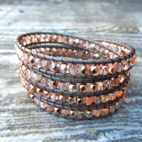 Beaded Leather 4 Wrap Bracelet with Rose Gold Light Pink Czech Glass Beads on Brown Leather