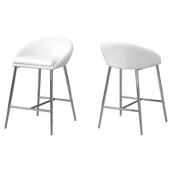 Barstool - 2Pcs / White / Chrome Base / Counter Height