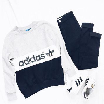 Adidas Women Casual Fashion Round Neck Top Sweater Pullover Sweatshirt
