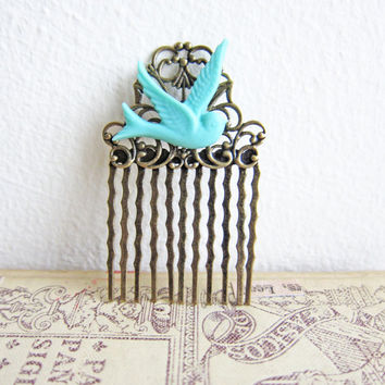 Turquoise Hair Comb Tiffany Blue Hair Comb Bird Hair Comb Shabby Chic Head Piece Bridesmaid Hair Comb Victorian Vintage Inspired Wedding