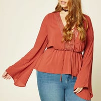 Plus Size Crochet-Trimmed Top