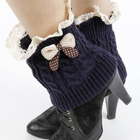 Navy Blue Laced Top Knitted Leg Warmer