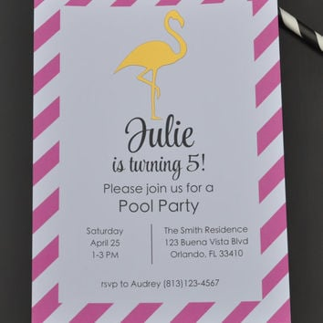 Gold Flamingo Birthday Party Invitations with Foil Design