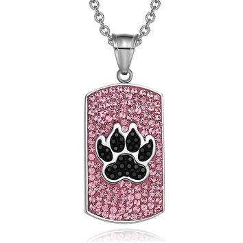 Wolf Paw Austrian Crystals Amulet Protection Powers Rose Pink Jet Black Dog Tag Pendant 22 Inch Necklace