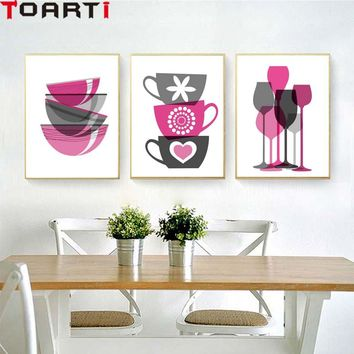 Wine Glasses Bowl Nordic Poster Modern Canvas Painting Wall Art Prints Modular Wall Picture For Kitchen Dinning Room Home Decor