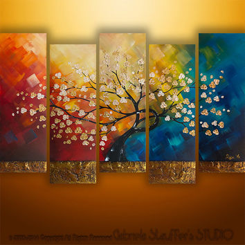 Original Modern Landscape Asian Tree Blossom Textured Painting Art by Gabriela 50x30 LARGE