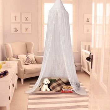White Lace Dome Bed Canopy Kids Play Tent Princess Mosquito Net Home Decor Height 250cm/98.4inches