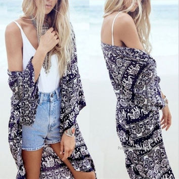 Women Kimono Casual Cardigans Print Long Loose Coat Cover Up Beach Chiffon Tops = 1838548676