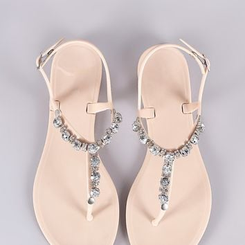 ff207913a Bamboo Jeweled T-Strap Jelly Thong Flat Sandal