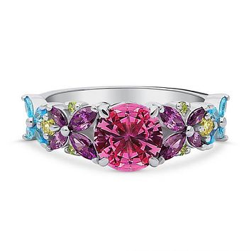 A 3.65TCW Blooming Color Floral Stacking Ring